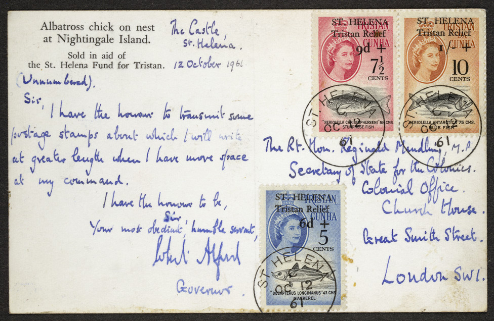 St Helena: 1961 Tristan Relief Fund 5c.+6d., 7½c.+9d., and 10c.+1/-, used on a postcard.